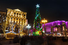 Night illumination of Moscow streets on Christmas Eve Stock Images