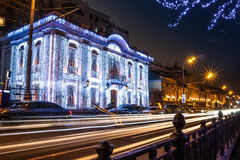 Night illumination of Moscow streets on Christmas Eve Stock Photo