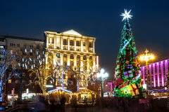 Night illumination of Moscow streets on Christmas Eve Stock Image