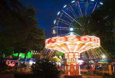 Night illumination in Park Riviera , Sochi city Royalty Free Stock Images