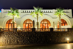 Night illumination of restaurant at luxury hotel Royalty Free Stock Photos