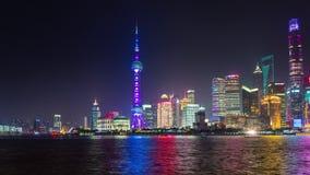 Night illumination shanghai city bay tourist ship panorama 4k time lapse china. China night illumination famous shanghai city bay tourist ship panorama 4k time stock video