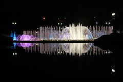 Night illumination at Tsaritsyno Park, Moscow. A fountain in Tsaritsyno park with night illumination royalty free stock photos