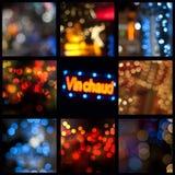Night illumined bokeh collage. Night illumined bokeh in the street collage Stock Photography