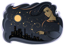 Night. Illustration of night with woman face Stock Photography