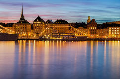 Night image with beautiful sky in Stockholm. Royalty Free Stock Images