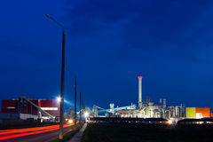 Night image of chemical plant. Stock Photos
