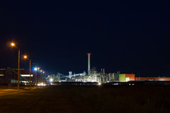 Night image of chemical plant. Royalty Free Stock Image