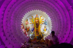 Night image of decorated Durga Puja pandal, Kolkata, West Bengal, India. Stock Photo