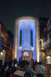 Night image of decorated Durga Puja pandal, Kolkata, West Bengal, India. Stock Image