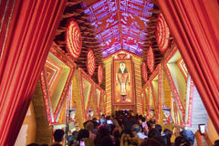 Night image of decorated Durga Puja pandal, Kolkata, West Bengal, India. Royalty Free Stock Images