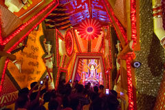 Night image of decorated Durga Puja pandal, Kolkata, West Bengal, India. Stock Photos