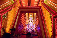 Night image of decorated Durga Puja pandal, Kolkata, West Bengal, India. Royalty Free Stock Photo
