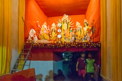 Night image of decorated Durga Puja pandal, Kolkata, West Bengal, India. Stock Photography