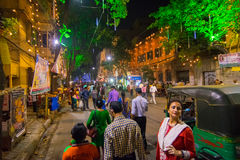 Night image of decorated street of Kolkata during Durga Puja, West Bengal, India. Stock Photography
