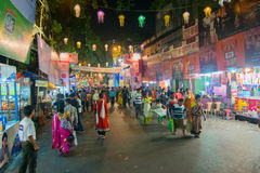 Night image of decorated street of Kolkata during Durga Puja, West Bengal, India. Royalty Free Stock Photography
