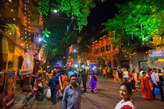 Night image of decorated street of Kolkata during Durga Puja, West Bengal, India. Royalty Free Stock Images