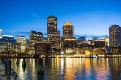 Night Skyline Boston, Massachusetts Waterfront View from Fan Pier royalty free stock photography