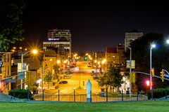Night Image Of Downtown Guelph, Ontario, Canada. Night image taken from the grounds of the Basilica of our Lady Immaculate in downtown Guelph, Ontario, Canada royalty free stock photography