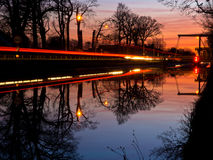Night image of a drawbridge Royalty Free Stock Image