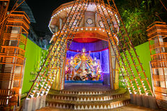 Night image of Durga Puja Pandal, Kolkata, West Bengal, India Royalty Free Stock Images
