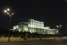 Night image of The Palace of the Parliament Royalty Free Stock Photography