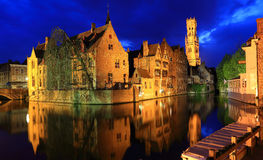 Night image with Rozenhoedkaai in Brugge. Stock Photos