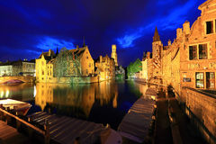 Night image with Rozenhoedkaai in Brugge. Stock Photography