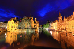 Night image with Rozenhoedkaai in Brugge. Royalty Free Stock Image