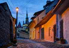 Night image from Sighisoara, Romania. Royalty Free Stock Image