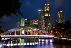 Elgin bridge Singapore at night royalty free stock photography
