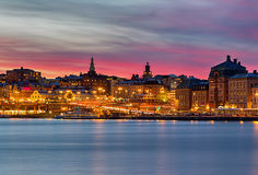 Night image Stockholm city with beautiful sky. Royalty Free Stock Images