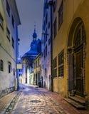 Night In Medieval Street In Old Riga City, Latvia Royalty Free Stock Photo