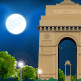Night India gate. India gate in moonlight, new delhi, india, travel Stock Photography