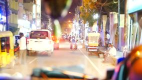 Night Indian street from window in the bus Kerala India Timelapse stock video