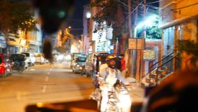 Night Indian street from window in the bus Kerala India Timelapse stock footage