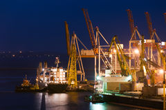 Night industrial port Stock Photo