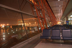 Night at the international airport lounge,Beijing,China Stock Photo
