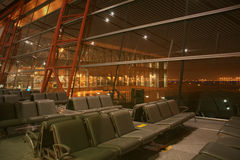 Night at the international airport lounge,Beijing,China royalty free stock photography