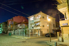 Night intersection in the Bulgarian Pomorie Royalty Free Stock Photo