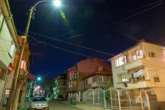 Night intersection in the Bulgarian Pomorie Stock Photo