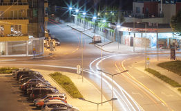 Night intersection in Pomorie, Bulgaria Royalty Free Stock Images