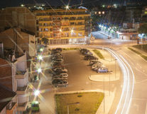 Night intersection in Pomorie in Bulgaria Stock Photos
