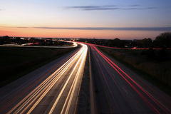 Night interstate. Interstate highway crosses river in the evening time Stock Image