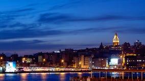 Night in Istanbul. Galata Bridge and Tower at Night in Istanbul, Turkey Stock Image