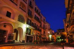 Night italian street. Ischia, Italy. Night colorful italian small town street. Ischia, Italy Stock Photos
