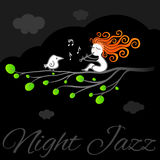 Night jazz vector art poster. Royalty Free Stock Photography