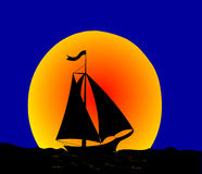 The Night journey on sailfish. Royalty Free Stock Photos