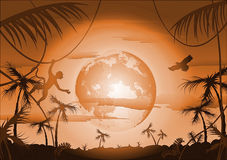 Night in jungle and moon. 2d illustration royalty free illustration