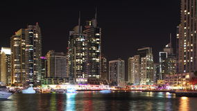 Night 4k time lapse from dubai marina gulf Stock Image